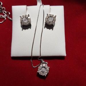 Jewelry - 1 Carat Diamond Sterling Silver Pendant Earrings